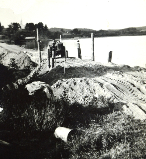 The causeway to the island under construction.